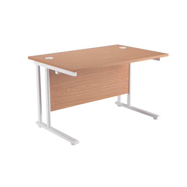 Image for First Rectangular Cantilever Desk 1200mm Oak with White Leg