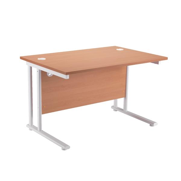 First Rectangular Cantilever Desk 1600mm Beech with White Leg