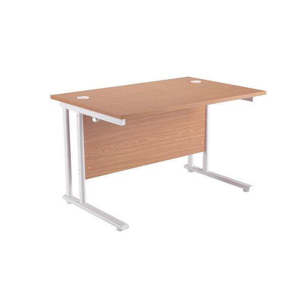 First Rectangular Cantilever Desk 1600mm Oak with White Leg
