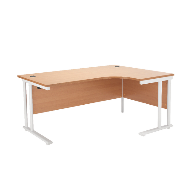 First Radial Right Hand Cantilever Desk 1600mm Beech with White Leg