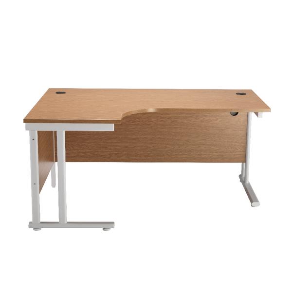 First Radial Left Hand Cantilever Desk 1600mm Oak with White Leg