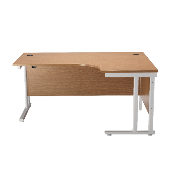 Image for First Radial Right Hand Cantilever Desk 1600mm Oak with White Leg KF838912