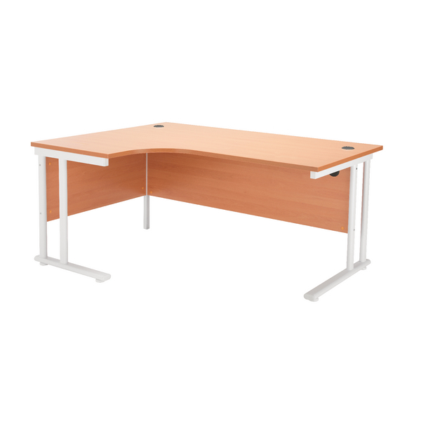 First Radial Left Hand Cantilever Desk 1800mm Beech with White Leg
