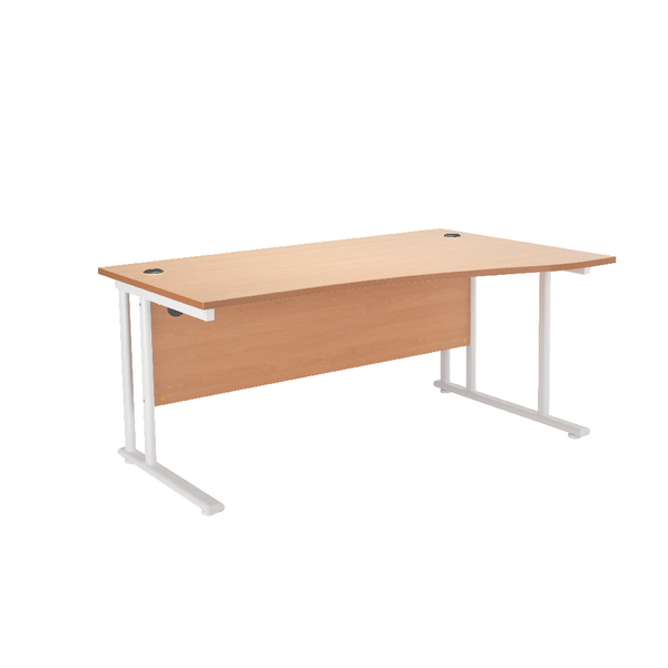 First Wave Right Hand Cantilever Desk 1600mm Beech with White Leg