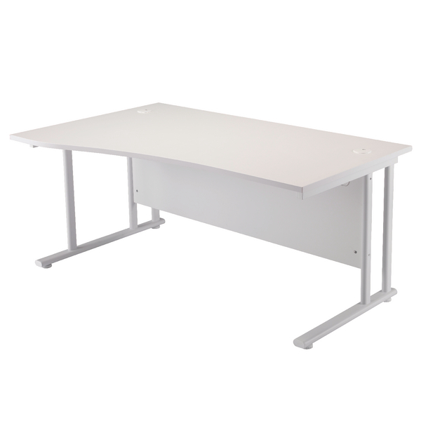 First Wave Left Hand Cantilever Desk 1600mm White with White Leg