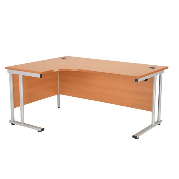 First Radial Left Hand Cantilever Desk 1600mm Beech