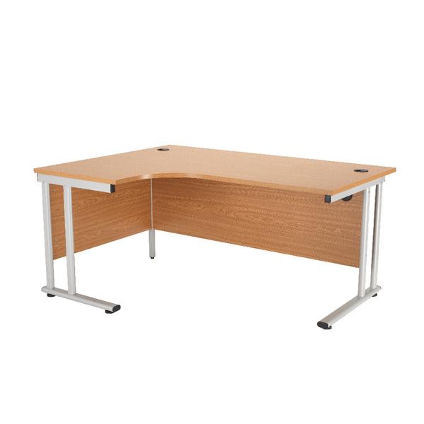 First Radial Left Hand Cantilever Desk 1600mm Oak