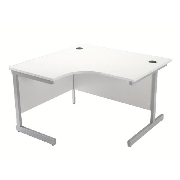 Jemini White/Silver 1200mm Left Hand Cantilever Radial Desk