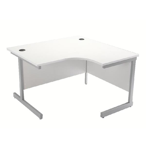 Jemini White/Silver 1200mm Right Hand Cantilever Radial Desk