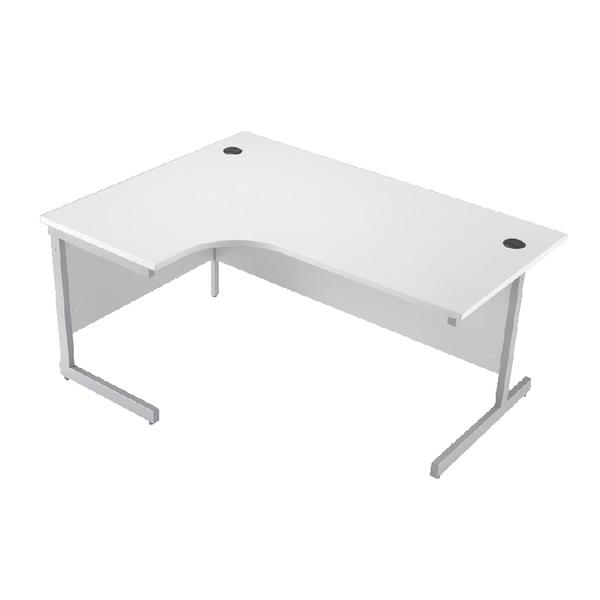 Jemini White/Silver 1800mm Left Hand Cantilever Radial Desk