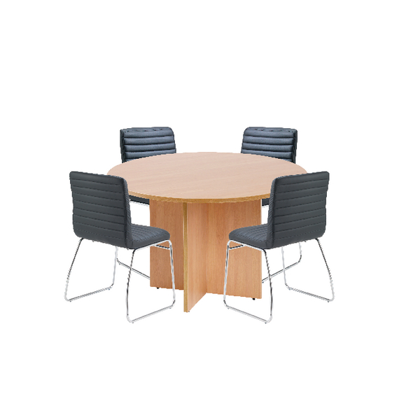 Cool First Beech 1200Mm Diameter Round Meeting Table With Dart Meeting Chairs Home Interior And Landscaping Eliaenasavecom
