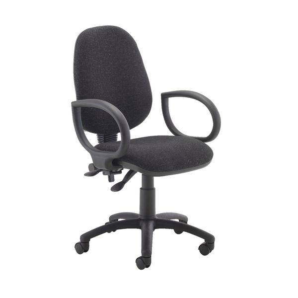 Image for First High Back Operators Chair Charcoal with Fixed Arms KF839242 (0)