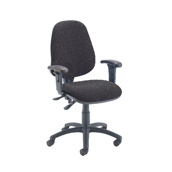 Image for First High Back Operators Chair Charcoal with Adjustable Arms KF839244 (0)