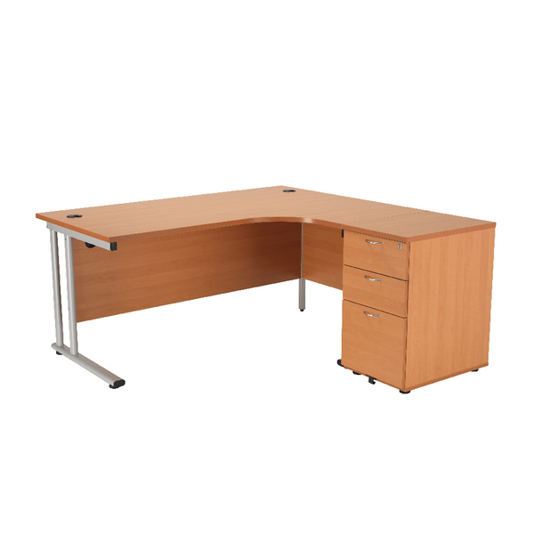 First Right Hand Radial Desk 1600mm with 3 Drawer Desk High Pedestal Beech KF839247