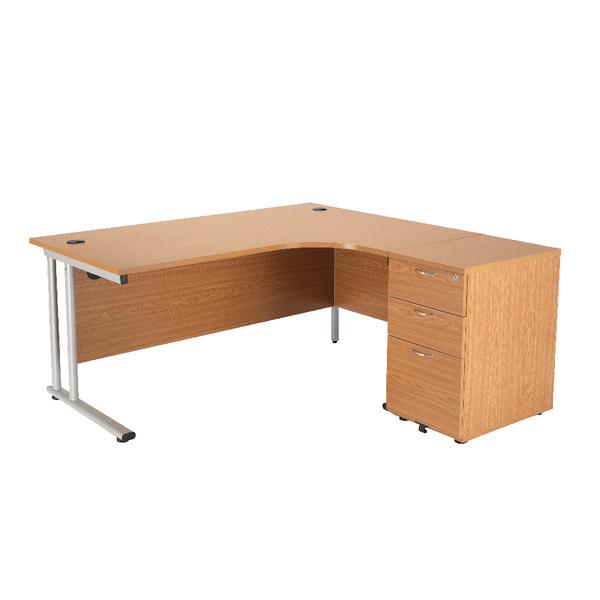 First Right Hand Radial Desk 1600mm with 3 Drawer Desk High Pedestal Oak