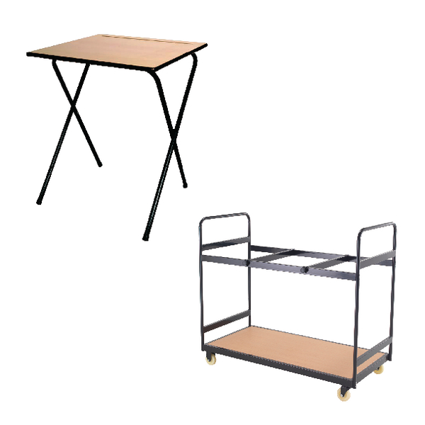 Jemini MDF Exam Desk (Pack of 40) and Trolley Bundle