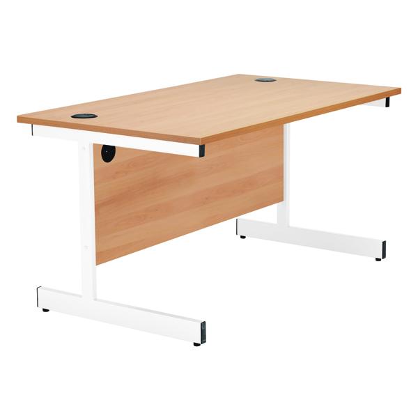 Jemini Oak/White 1400mm Rectangular Cantilever Desk