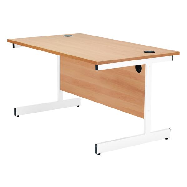 Jemini Beech/White 1800mm Rectangular Cantilever Desk