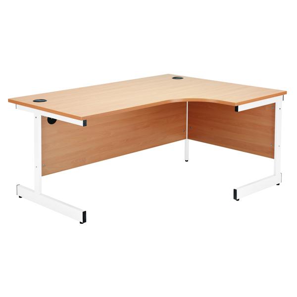 Jemini Beech/White 1200mm Left Hand Radial Cantilever Desk