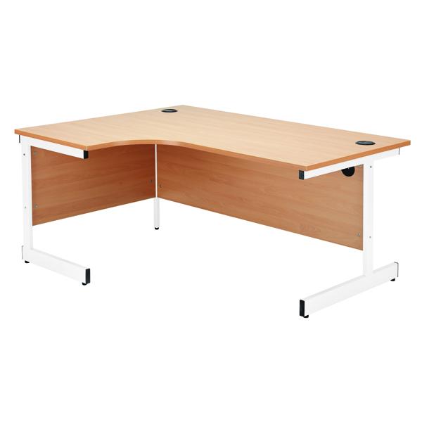 Jemini White/White 1200mm Right Hand Radial Cantilever Desk