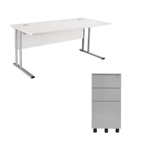 First Rectangular Cantilever Desk 1200mm White Top Silver Legs and Slimline Silver Pedestal