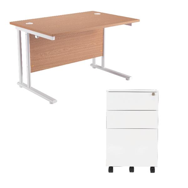 First Rectangular Cantilever Desk 1200mm Oak Top White Legs and white Pedestal
