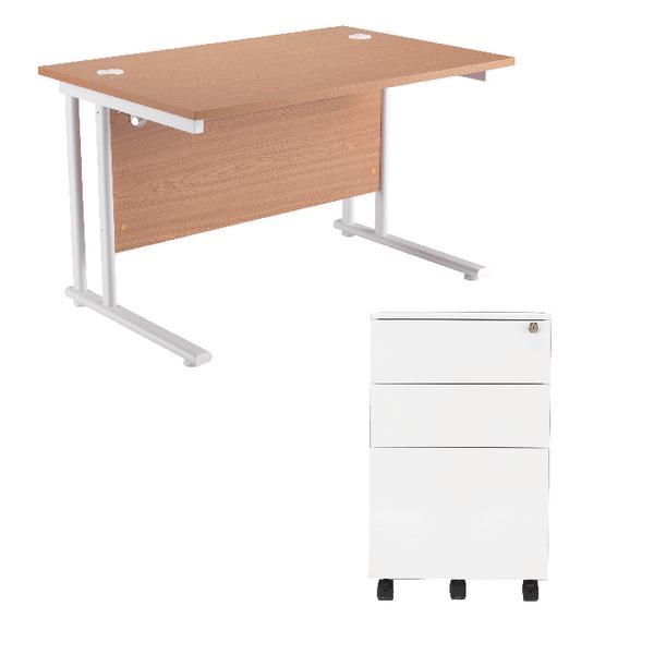 First Rectangular Cantilever Desk 1600mm Oak Top White Legs and white Pedestal