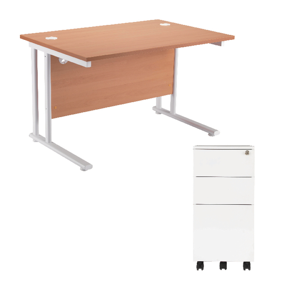 First Rectangular Cantilever Desk 1200mm Beech Top White Legs and Slimline white Pedestal