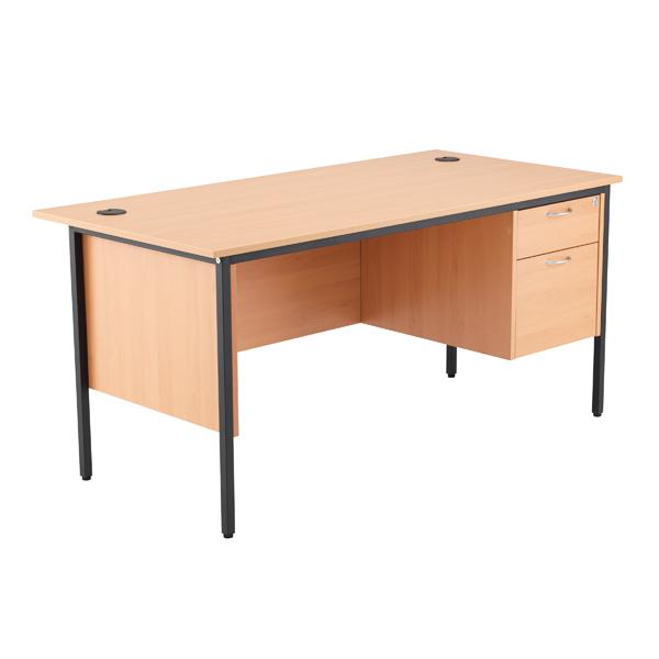 Jemini 18 Beech 1532mm Desk with 2 Drawer Pedestal