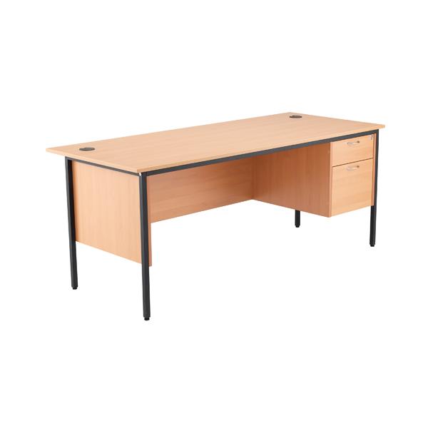 Jemini 18 Beech 1786mm Desk with 2 Drawer Pedestal