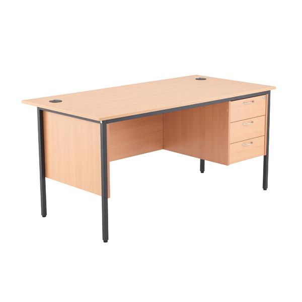 Jemini 18 Beech 1532mm Desk with 3 Drawer Pedestal