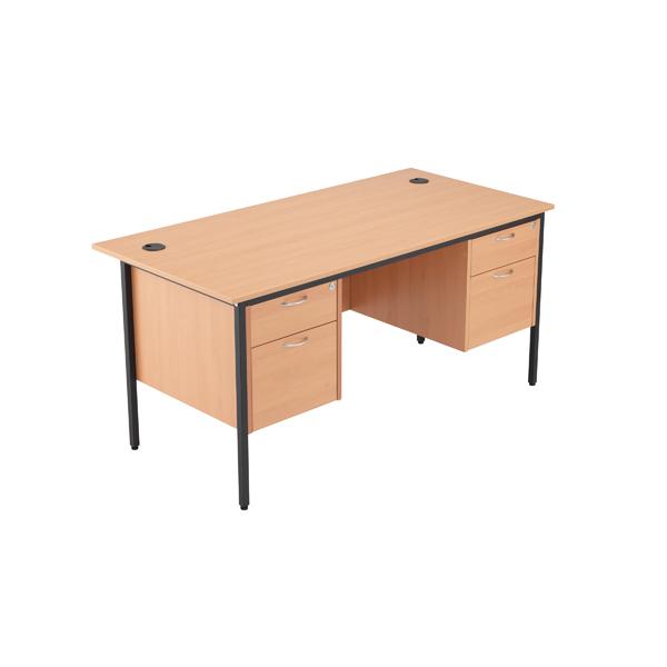 Jemini 18 Beech 1532mm Desk with Double 2 Drawer Pedestal