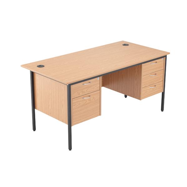 Jemini 18 Oak 1532mm Desk with 2 and 3 Drawer Pedestal KF839494