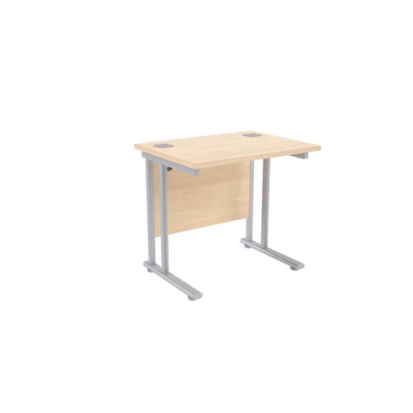 Jemini Maple/Silver 800mm Rectangular Desk