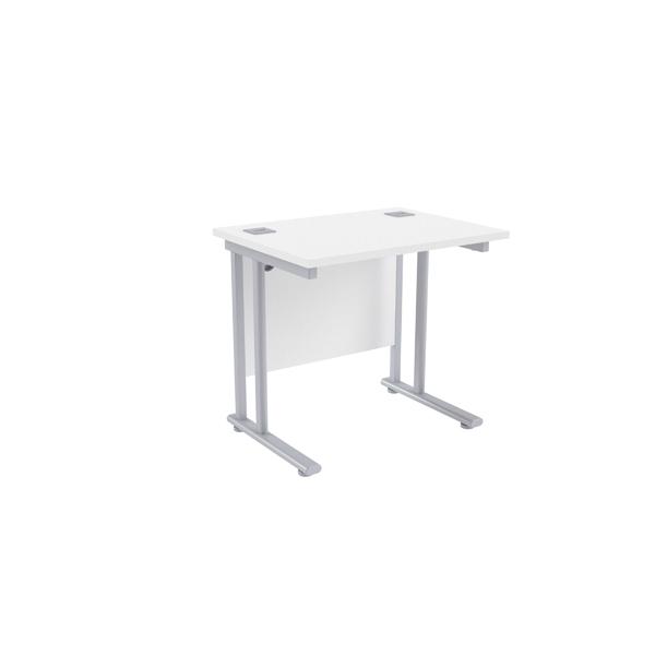 Jemini White/Silver 800mm Rectangular Desk