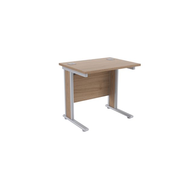 Jemini Grey Oak/Silver 800mm Rectangular Desk