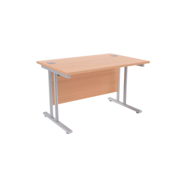 Jemini Beech/Silver W1200 x D800mm Rectangular Cantilever Desk