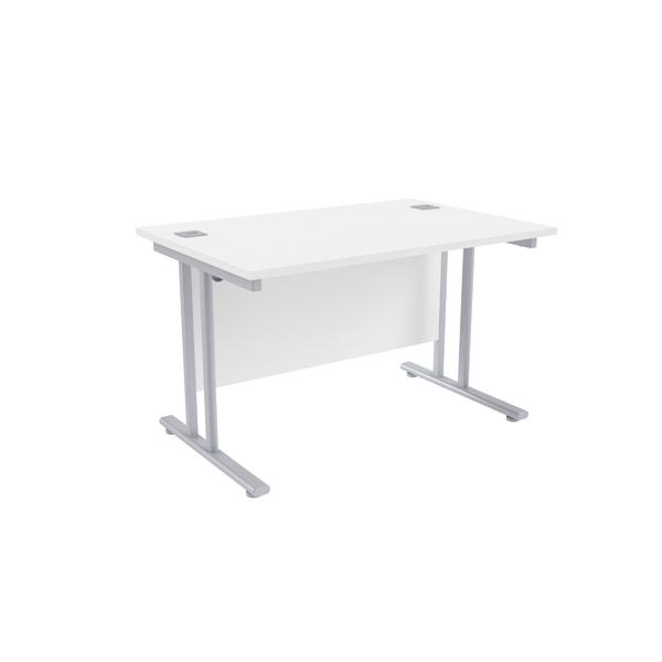Jemini White/Silver W1200 x D800mm Rectangular Cantilever Desk