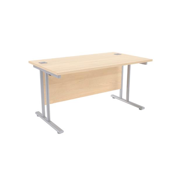 Jemini Maple/Silver W1400 x D800mm Rectangular Cantilever Desk