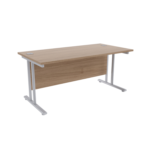 Jemini Grey Oak/Silver W1600 x D800mm Rectangular Cantilever Desk