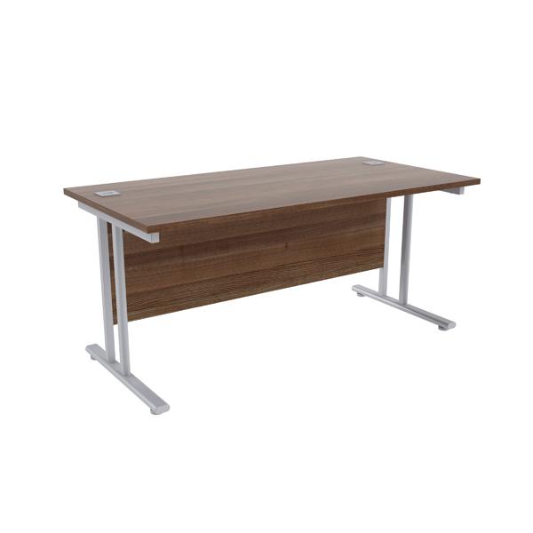 Jemini Walnut/Silver W1600 x D800mm Rectangular Cantilever Desk