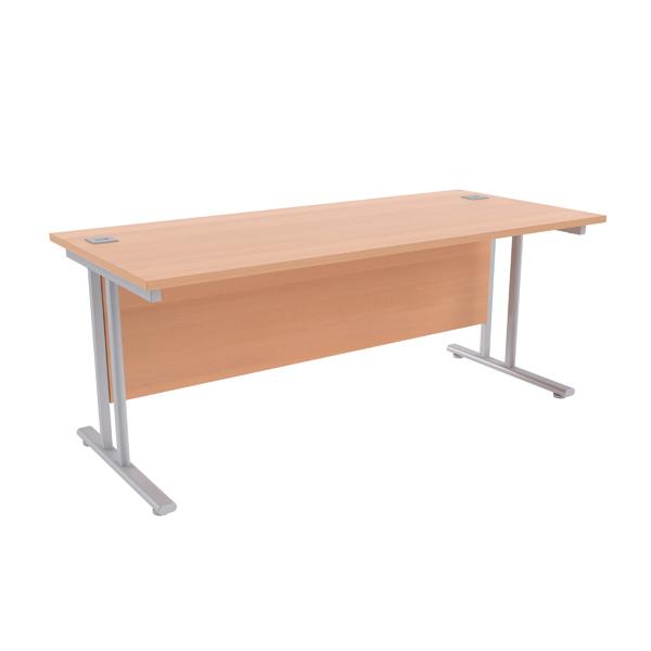 Jemini Beech/Silver W1800 x D800mm Rectangular Cantilever Desk