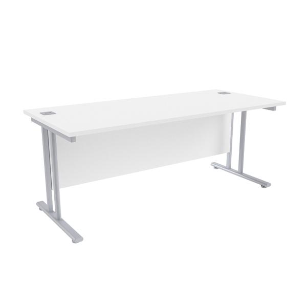 Jemini White/Silver W1800 x D800mm Rectangular Cantilever Desk