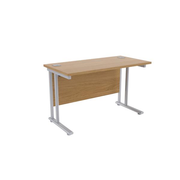 Jemini Maple/Silver W1200 x D600mm Rectangular Cantilever Desk
