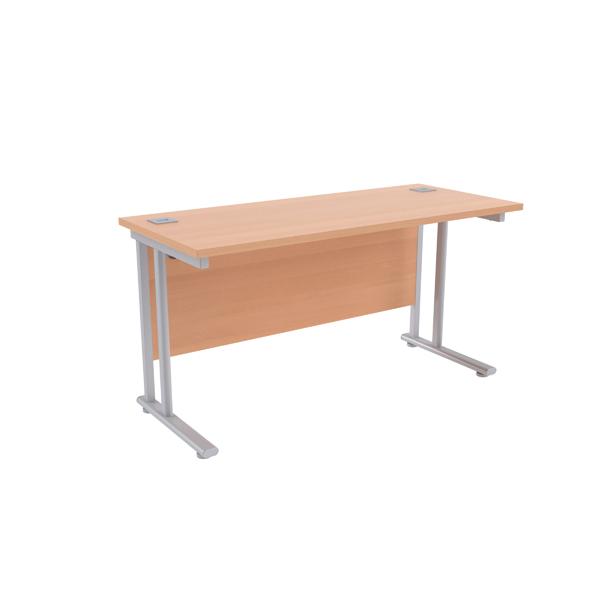Jemini Beech/Silver W1400 x D600mm Rectangular Cantilever Desk