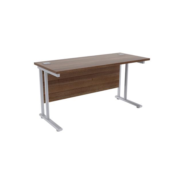 Jemini Walnut/Silver W1400 x D600mm Rectangular Cantilever Desk