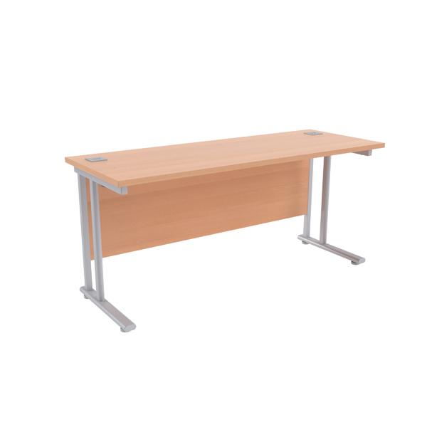Jemini Beech/Silver W1600 x D600mm Rectangular Cantilever Desk