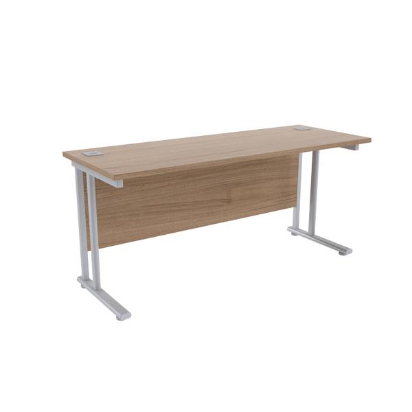 Jemini Grey Oak/Silver W1600 x D600mm Rectangular Cantilever Desk