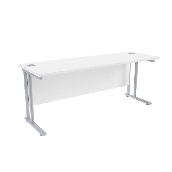 Jemini White/Silver W1800 x D600mm Rectangular Cantilever Desk