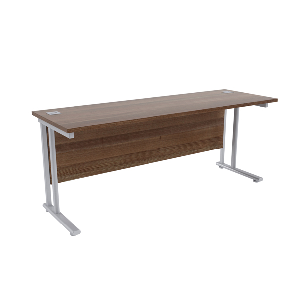 Jemini Walnut/Silver W1800 x D600mm Rectangular Cantilever Desk